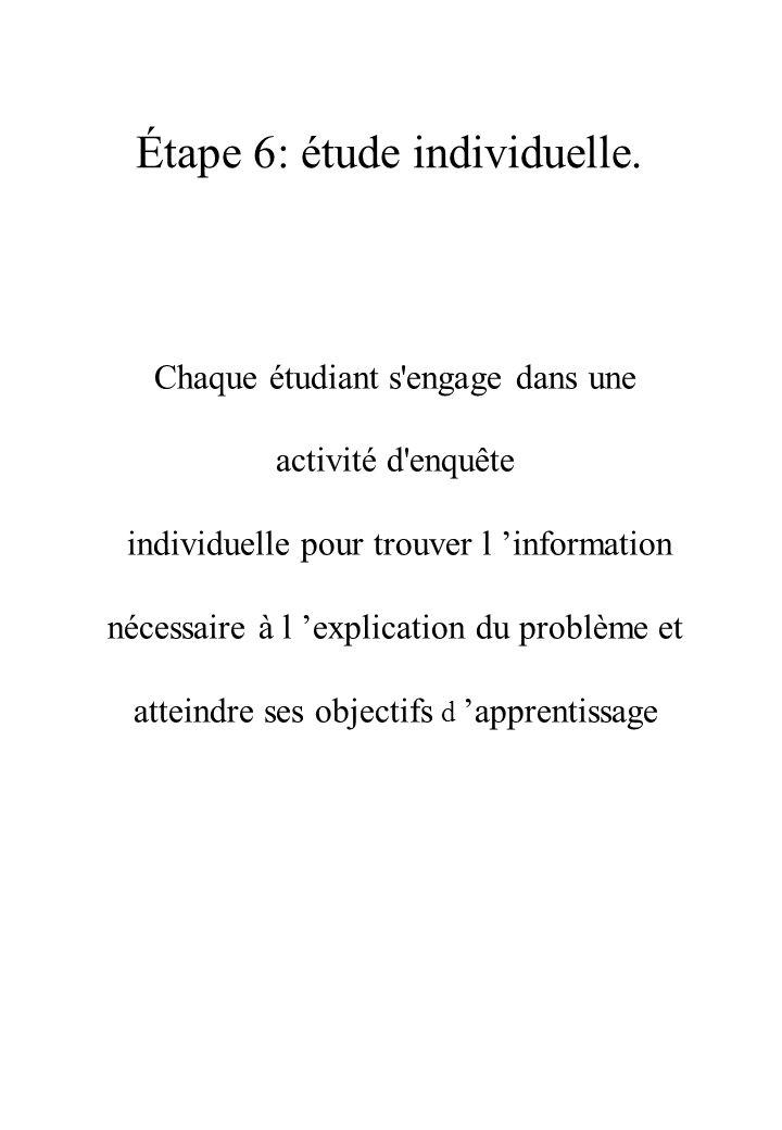 Étape 6: étude individuelle.