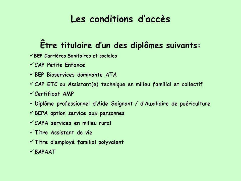 Les conditions d'accès Être titulaire d'un des diplômes suivants:  BEP Carrières Sanitaires et sociales  CAP Petite Enfance  BEP Bioservices domina