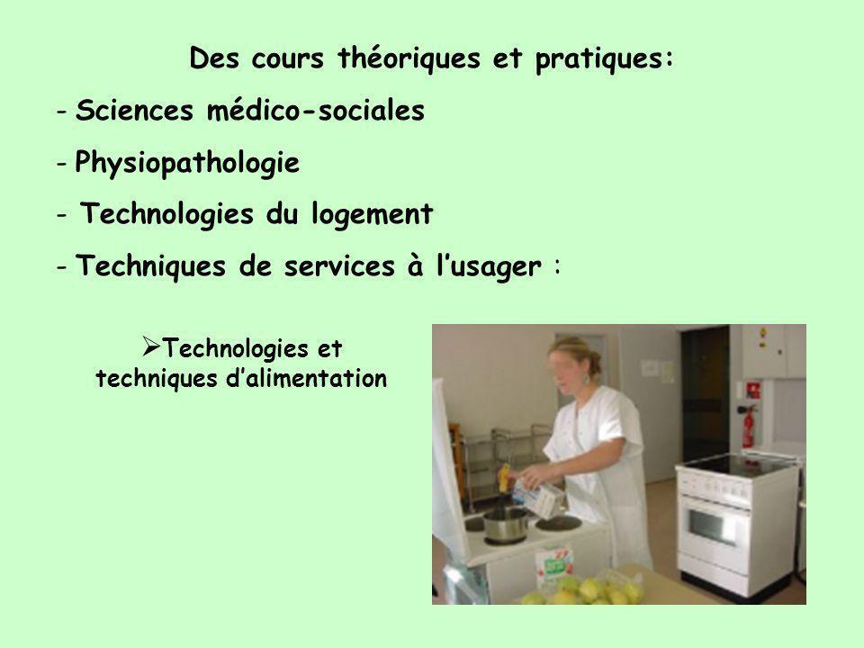 Des cours théoriques et pratiques: - Sciences médico-sociales - Physiopathologie - Technologies du logement - Techniques de services à l'usager :  Technologies et techniques d'alimentation