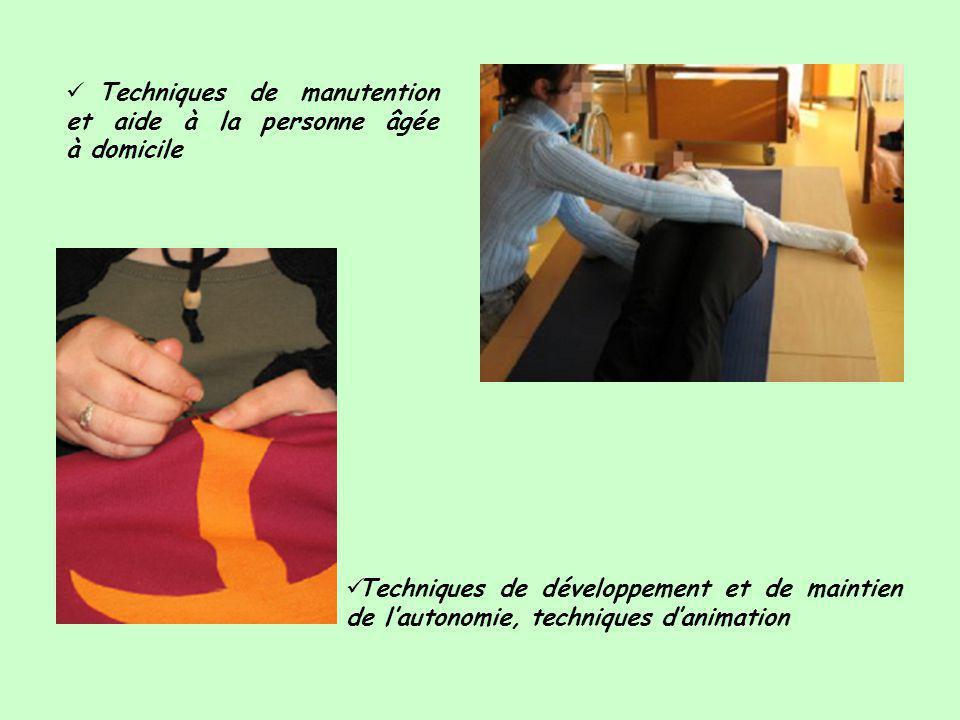  Techniques de manutention et aide à la personne âgée à domicile  Techniques de développement et de maintien de l'autonomie, techniques d'animation