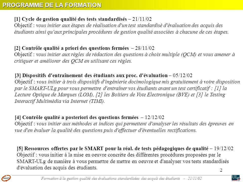 2 [1] Cycle de gestion qualité des tests standardisés – 21/11/02 Objectif : vous initier aux étapes de réalisation d un test standardisé d évaluation des acquis des étudiants ainsi qu aux principales procédures de gestion qualité associées à chacune de ces étapes.