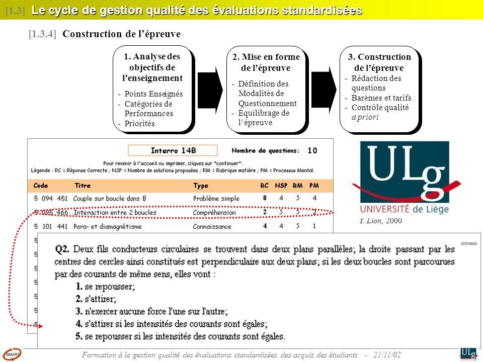 26 Le cycle de gestion qualité des évaluations standardisées [1.3] Le cycle de gestion qualité des évaluations standardisées [1.3.4] Construction de l
