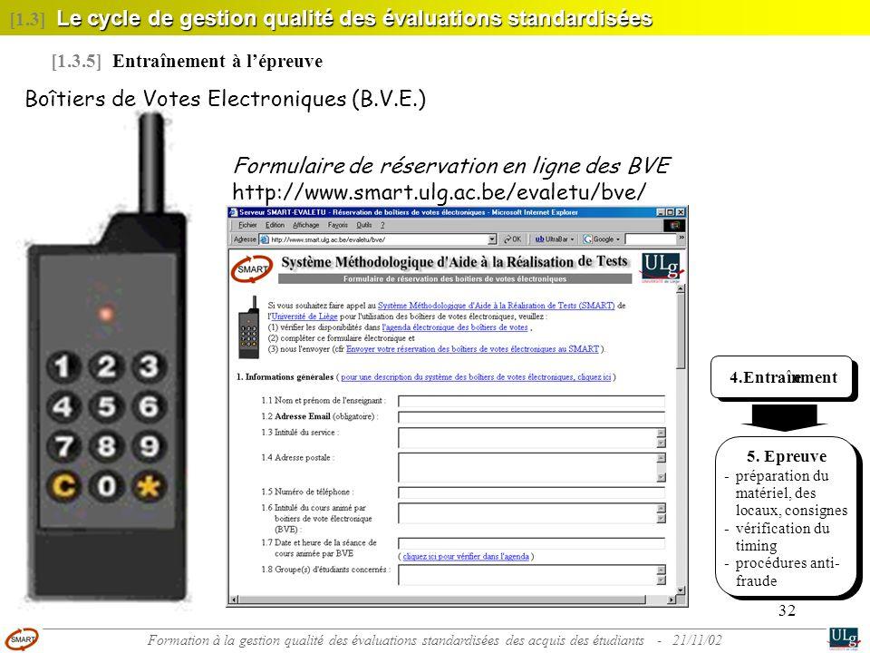 32 4. Entraînement 5. Epreuve - préparation du matériel, des locaux, consignes - vérification du timing - procédures anti- fraude Boîtiers de Votes El