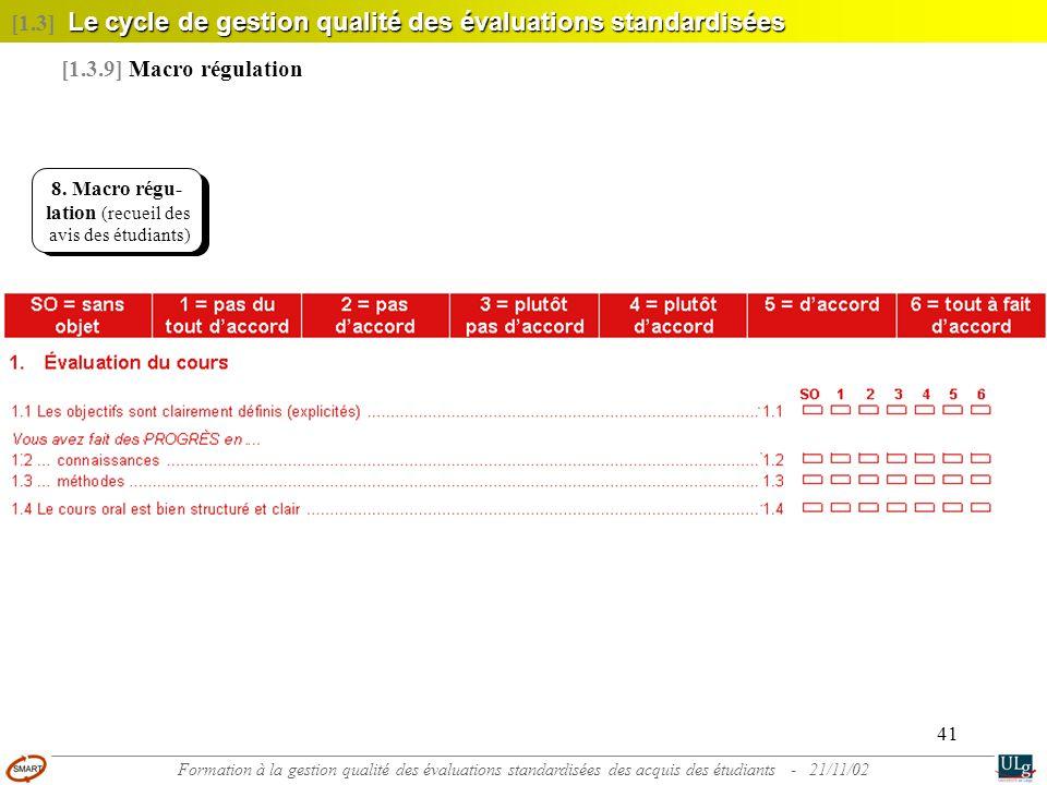 41 8. Macrorégu- lation (recueil des avis des étudiants) Le cycle de gestion qualité des évaluations standardisées [1.3] Le cycle de gestion qualité d