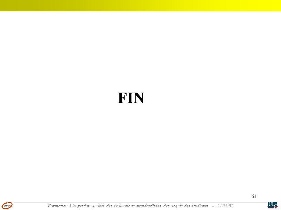 61 FIN Formation à la gestion qualité des évaluations standardisées des acquis des étudiants - 21/11/02