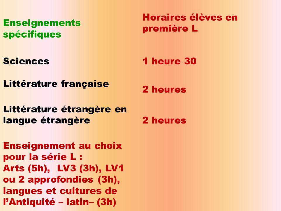 Enseignements spécifiques Horaires élèves en première L Sciences1 heure 30 Littérature française 2 heures Littérature étrangère en langue étrangère2 h