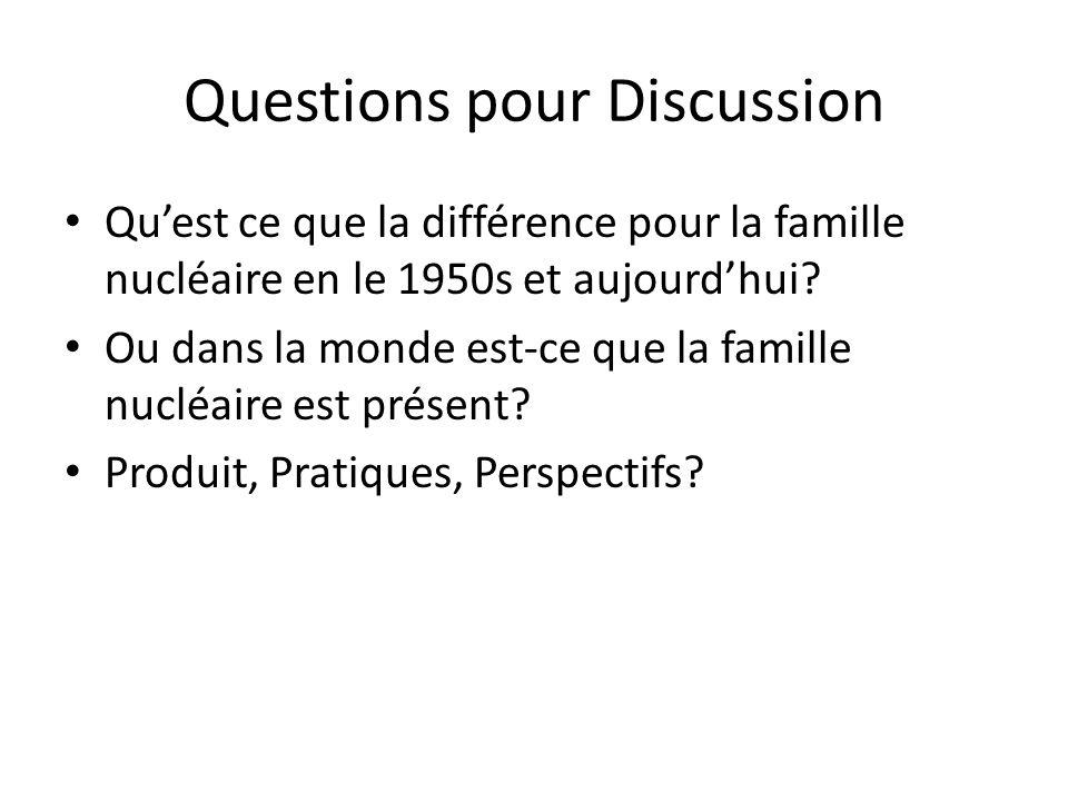 Questions pour Discussion • Qu'est ce que la différence pour la famille nucléaire en le 1950s et aujourd'hui? • Ou dans la monde est-ce que la famille