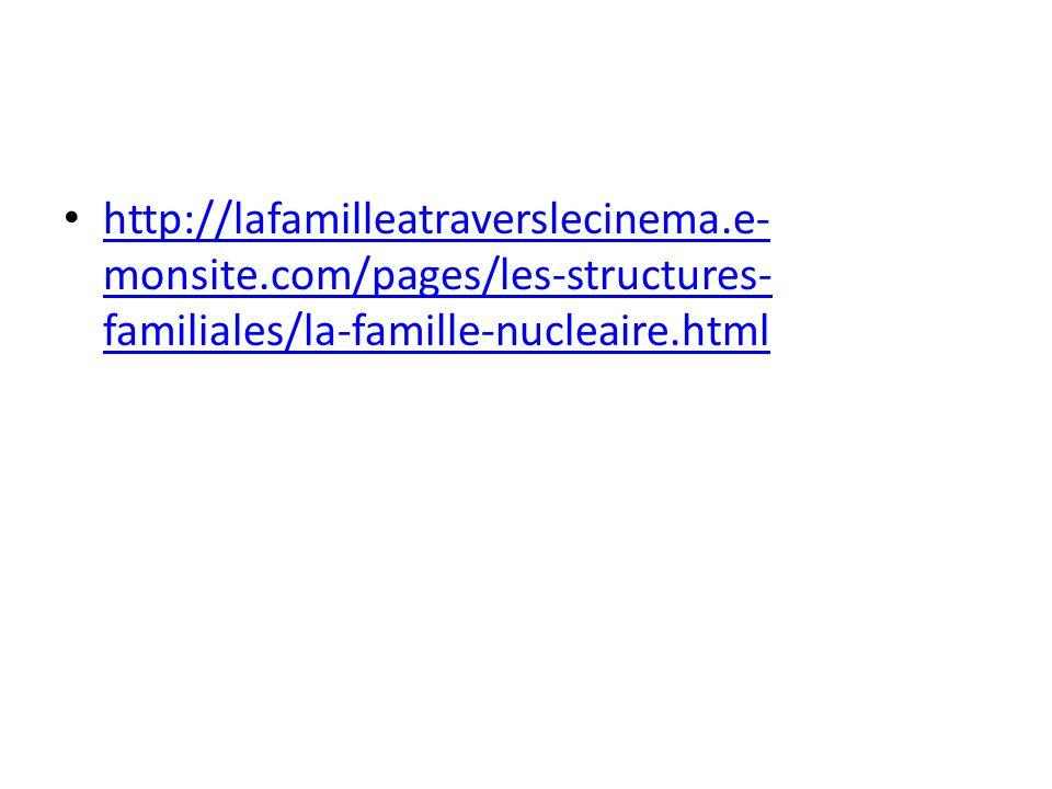 • http://lafamilleatraverslecinema.e- monsite.com/pages/les-structures- familiales/la-famille-nucleaire.html http://lafamilleatraverslecinema.e- monsi
