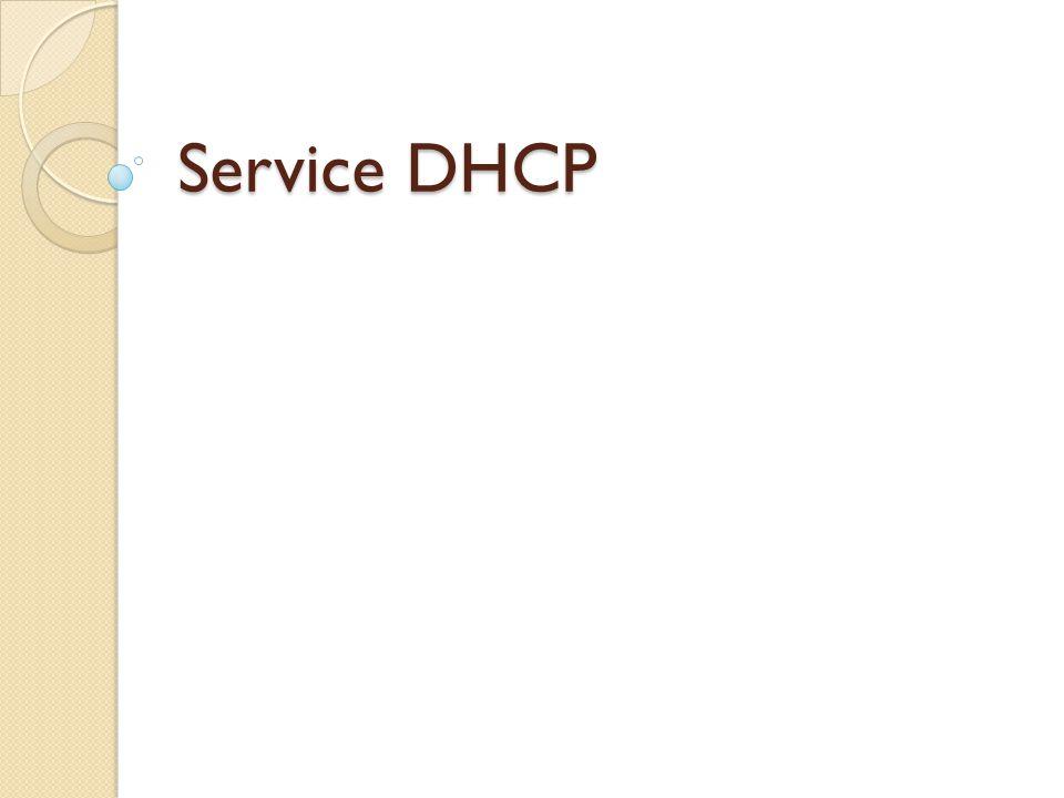 Rôle d un service DHCP  Serveur DHCP (Dynamic Host Configuration Protocol)  Distribuer des adresses IP à des clients.