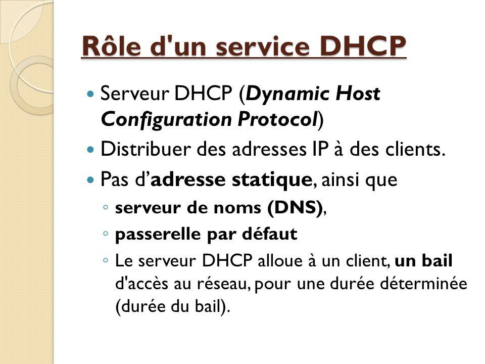 Rôle d un service DHCP  Tous les hôtes important du réseau comme : ◦ serveur de nom primaire et secondaire (DNS) ◦ passerelle par défaut (routeur pour sortir du réseau).