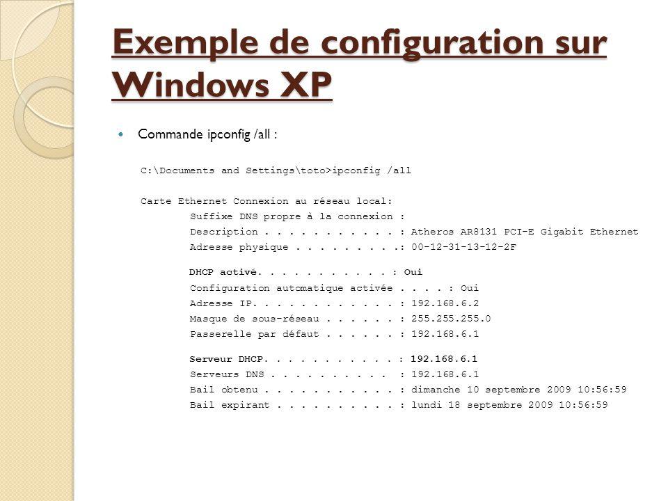 Exemple de configuration sur Windows XP  Commande ipconfig /all : C:\Documents and Settings\toto>ipconfig /all Carte Ethernet Connexion au réseau local: Suffixe DNS propre à la connexion : Description...........