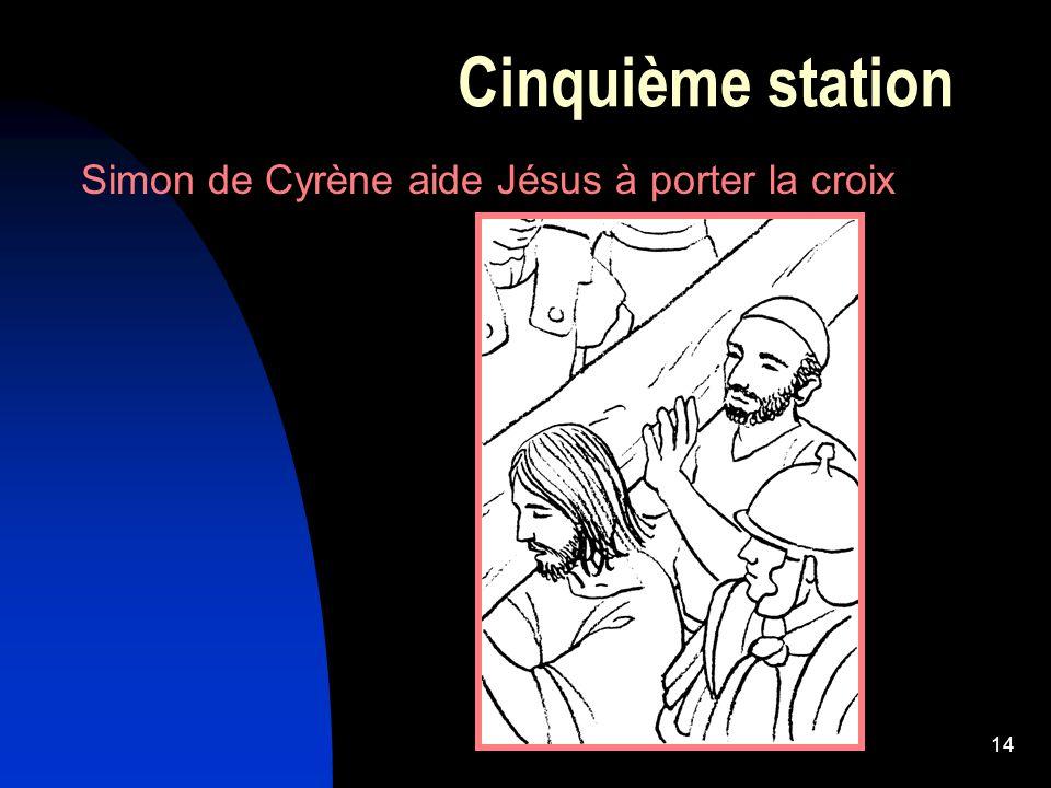 14 Cinquième station Simon de Cyrène aide Jésus à porter la croix