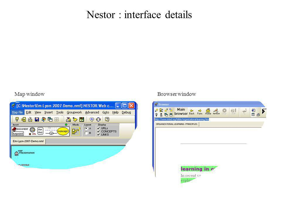 Nestor : interface details Map windowBrowser window