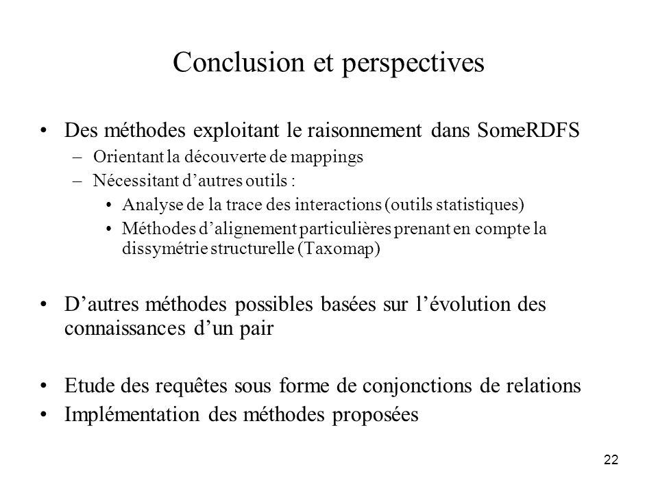 22 Conclusion et perspectives •Des méthodes exploitant le raisonnement dans SomeRDFS –Orientant la découverte de mappings –Nécessitant d'autres outils