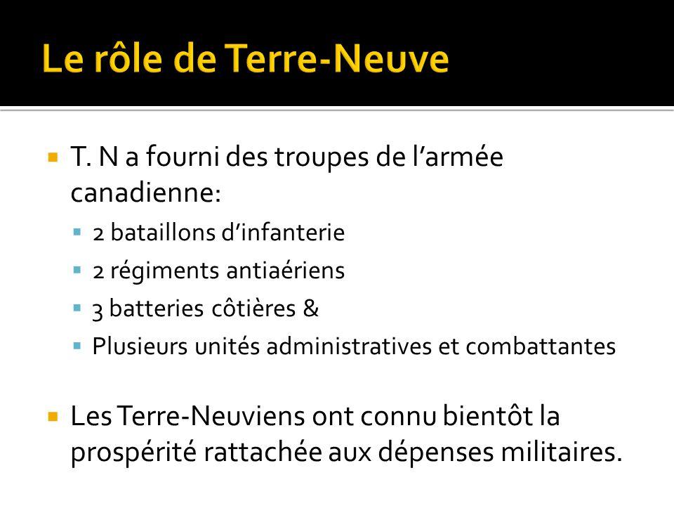  T. N a fourni des troupes de l'armée canadienne:  2 bataillons d'infanterie  2 régiments antiaériens  3 batteries côtières &  Plusieurs unités a