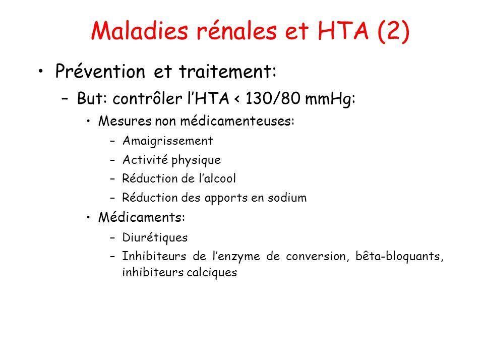 Maladies rénales et HTA (2) •Prévention et traitement: –But: contrôler l'HTA < 130/80 mmHg: •Mesures non médicamenteuses: –Amaigrissement –Activité ph