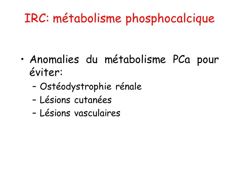 IRC: métabolisme phosphocalcique •Anomalies du métabolisme PCa pour éviter: –Ostéodystrophie rénale –Lésions cutanées –Lésions vasculaires