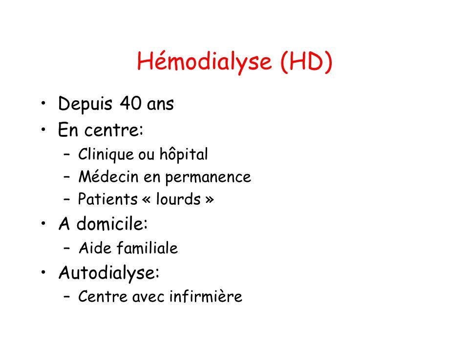 Hémodialyse (HD) •Depuis 40 ans •En centre: –Clinique ou hôpital –Médecin en permanence –Patients « lourds » •A domicile: –Aide familiale •Autodialyse