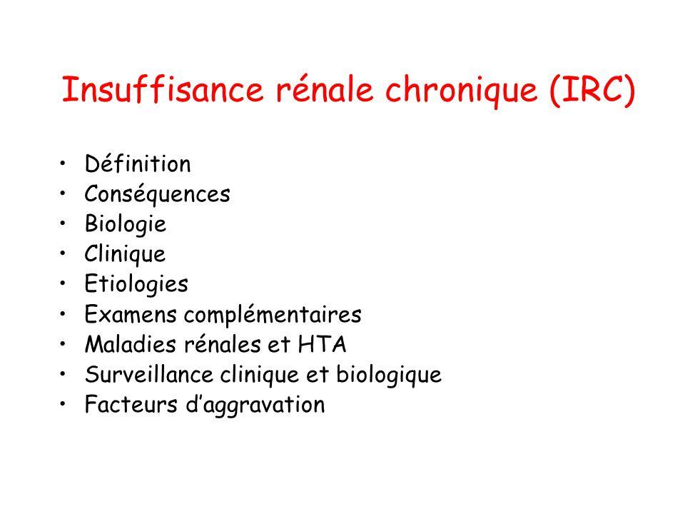 Insuffisance rénale chronique (IRC) •Définition •Conséquences •Biologie •Clinique •Etiologies •Examens complémentaires •Maladies rénales et HTA •Surve