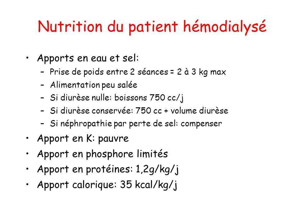 Nutrition du patient hémodialysé •Apports en eau et sel: –Prise de poids entre 2 séances = 2 à 3 kg max –Alimentation peu salée –Si diurèse nulle: boi