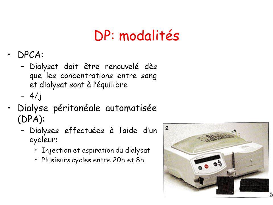 DP: modalités •DPCA: –Dialysat doit être renouvelé dès que les concentrations entre sang et dialysat sont à l'équilibre –4/j •Dialyse péritonéale auto