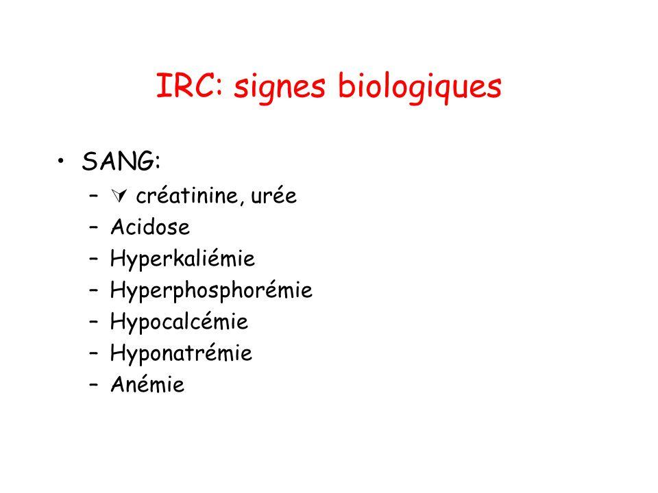 IRC: principales causes •Néphropathies vasculaires: –HTA ancienne •Néphropathie diabétique •Glomérulonéphrite chronique •Néphrite interstitielle chronique: –Obstructive: lithiase, cancer –Métabolique: hypercalcémie –Toxique: médicamenteuse, plomb •Néphropathies héréditaires: –Polykystose rénale, syndrome d'Alport •Maladies de système: –Lupus, amylose, myélome, vascularite •Néphropathie de reflux
