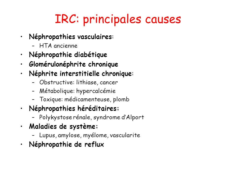 IRC: principales causes •Néphropathies vasculaires: –HTA ancienne •Néphropathie diabétique •Glomérulonéphrite chronique •Néphrite interstitielle chron