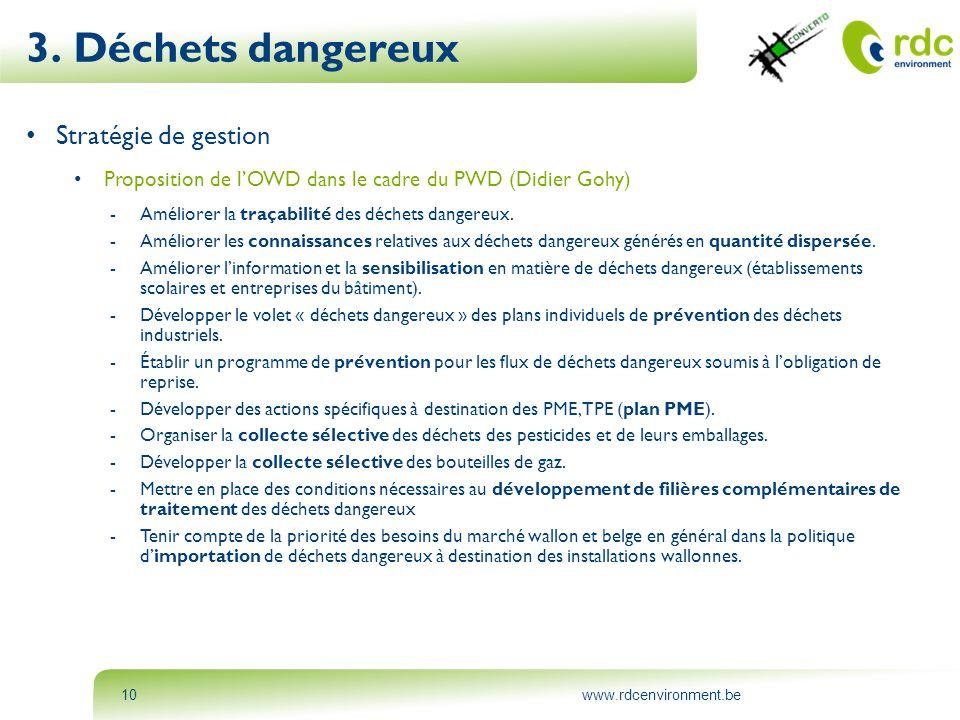www.rdcenvironment.be10 3. Déchets dangereux • Stratégie de gestion • Proposition de l'OWD dans le cadre du PWD (Didier Gohy) -Améliorer la traçabilit