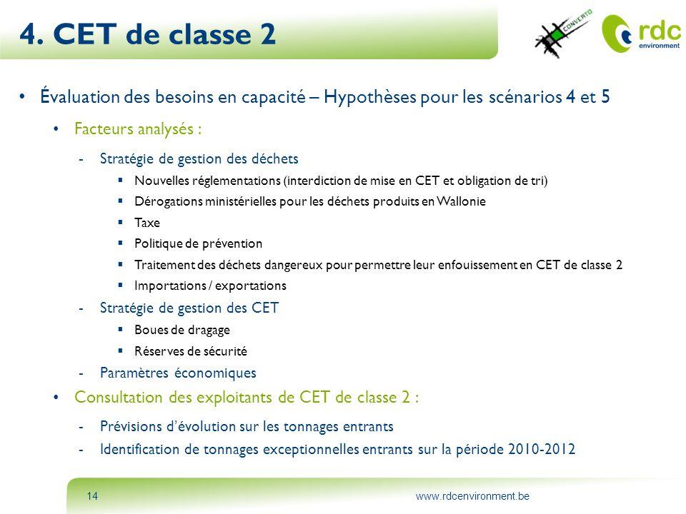 www.rdcenvironment.be14 4. CET de classe 2 • Évaluation des besoins en capacité – Hypothèses pour les scénarios 4 et 5 • Facteurs analysés : -Stratégi