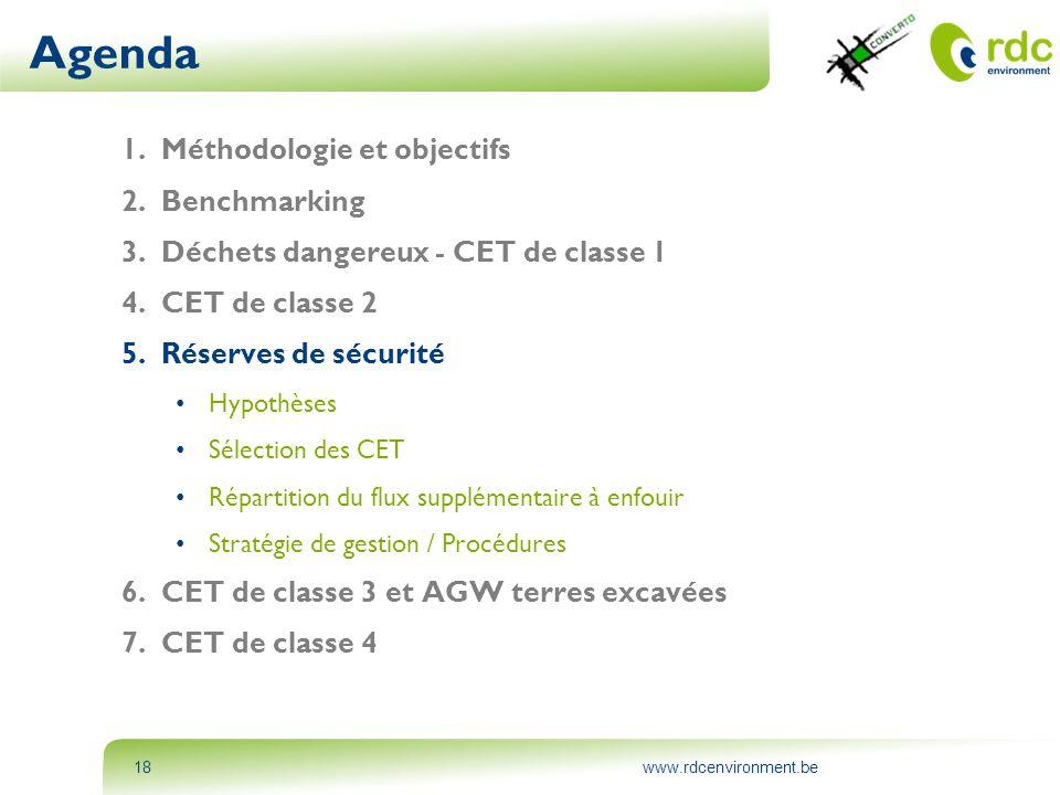 www.rdcenvironment.be18 Agenda 1.Méthodologie et objectifs 2.Benchmarking 3.Déchets dangereux - CET de classe 1 4.CET de classe 2 5.Réserves de sécuri