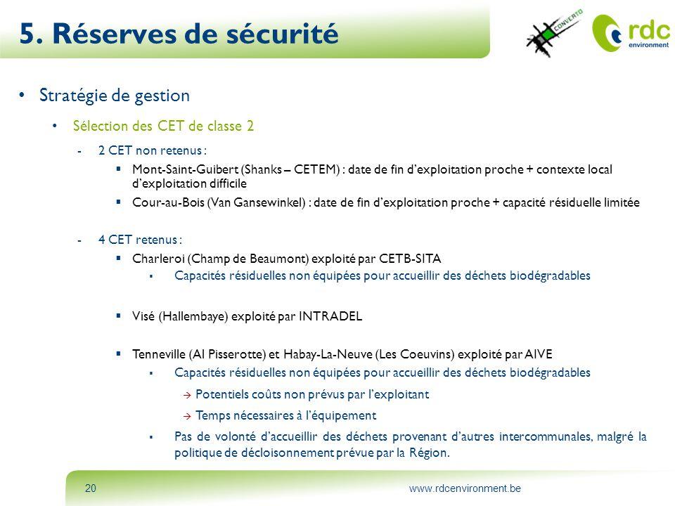 www.rdcenvironment.be20 5. Réserves de sécurité • Stratégie de gestion • Sélection des CET de classe 2 -2 CET non retenus :  Mont-Saint-Guibert (Shan