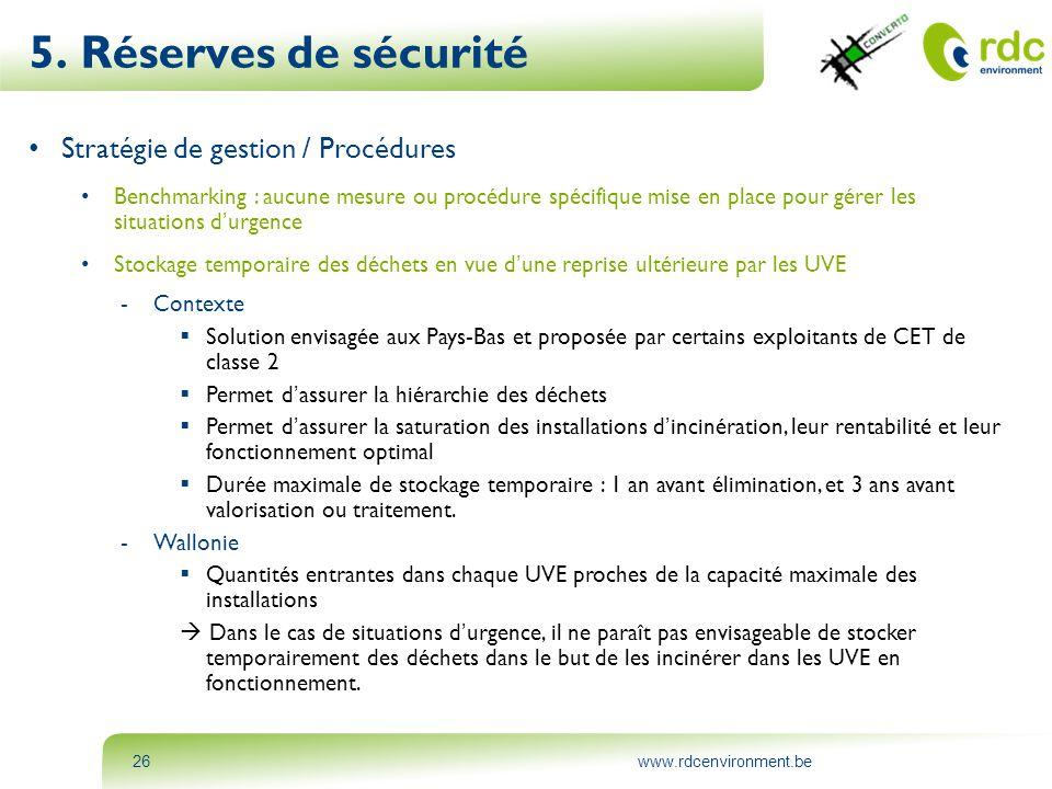 www.rdcenvironment.be26 5. Réserves de sécurité • Stratégie de gestion / Procédures • Benchmarking : aucune mesure ou procédure spécifique mise en pla