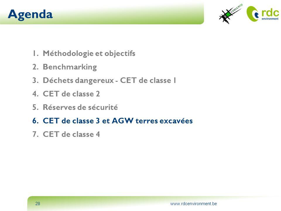 www.rdcenvironment.be28 Agenda 1.Méthodologie et objectifs 2.Benchmarking 3.Déchets dangereux - CET de classe 1 4.CET de classe 2 5.Réserves de sécuri