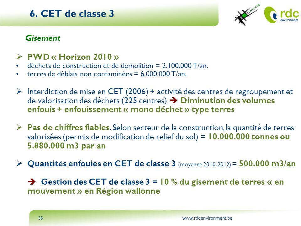www.rdcenvironment.be36 6. CET de classe 3 Gisement  PWD « Horizon 2010 » • déchets de construction et de démolition = 2.100.000 T/an. • terres de dé