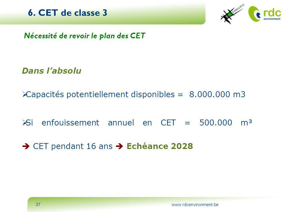 www.rdcenvironment.be37 6. CET de classe 3 Nécessité de revoir le plan des CET Dans l'absolu  Capacités potentiellement disponibles = 8.000.000 m3 