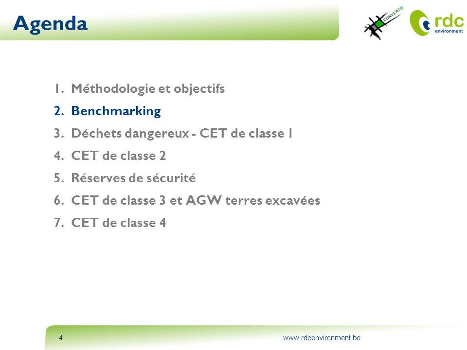 www.rdcenvironment.be4 Agenda 1.Méthodologie et objectifs 2.Benchmarking 3.Déchets dangereux - CET de classe 1 4.CET de classe 2 5.Réserves de sécurit