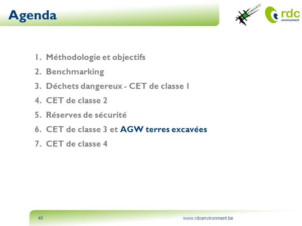 www.rdcenvironment.be40 Agenda 1.Méthodologie et objectifs 2.Benchmarking 3.Déchets dangereux - CET de classe 1 4.CET de classe 2 5.Réserves de sécuri