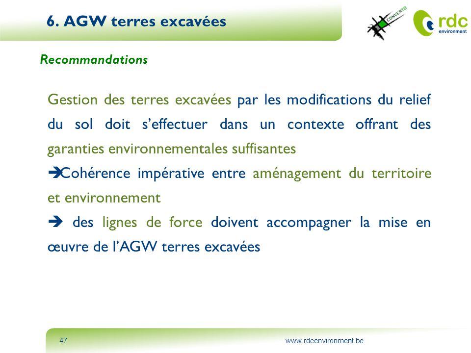 www.rdcenvironment.be47 6. AGW terres excavées Recommandations Gestion des terres excavées par les modifications du relief du sol doit s'effectuer dan