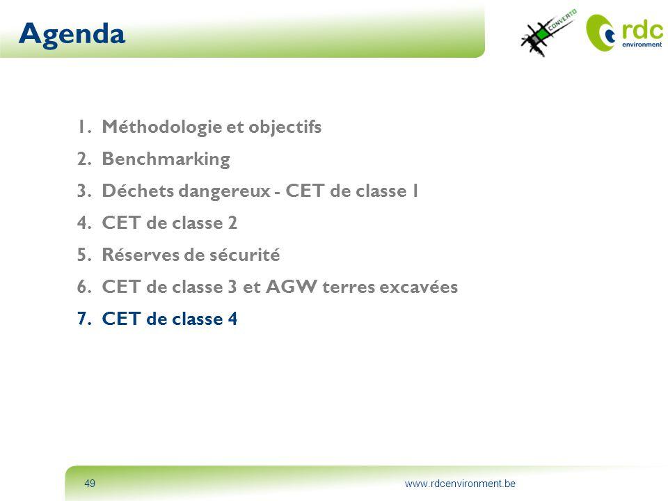 www.rdcenvironment.be49 Agenda 1.Méthodologie et objectifs 2.Benchmarking 3.Déchets dangereux - CET de classe 1 4.CET de classe 2 5.Réserves de sécuri