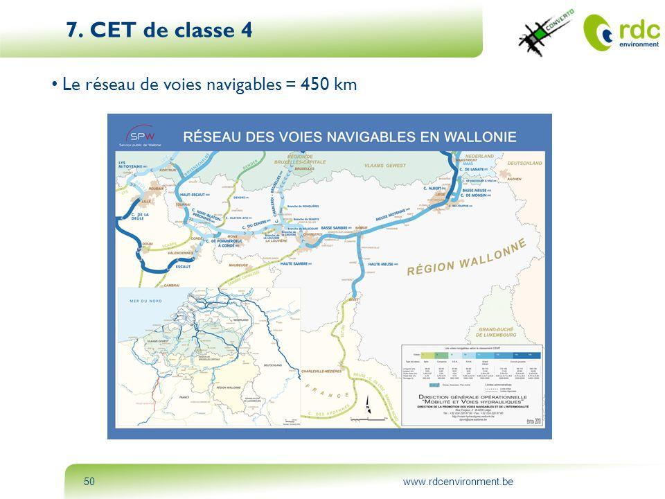 www.rdcenvironment.be50 7. CET de classe 4 • Le réseau de voies navigables = 450 km