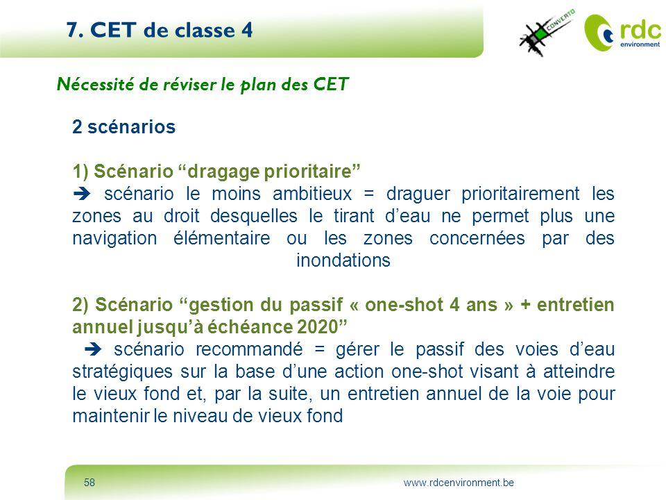 """www.rdcenvironment.be58 7. CET de classe 4 Nécessité de réviser le plan des CET 2 scénarios 1) Scénario """"dragage prioritaire""""  scénario le moins ambi"""