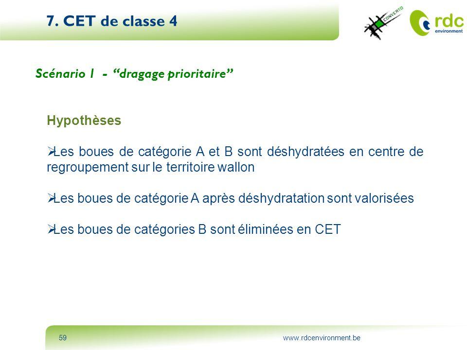 """www.rdcenvironment.be59 7. CET de classe 4 Scénario 1 - """"dragage prioritaire"""" Hypothèses  Les boues de catégorie A et B sont déshydratées en centre d"""