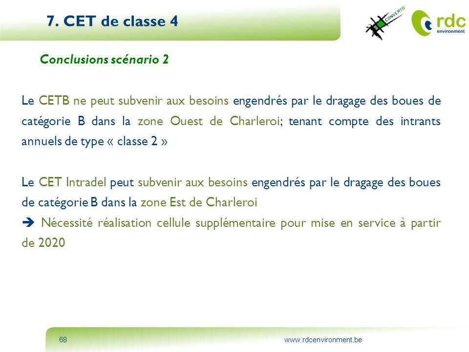 www.rdcenvironment.be68 7. CET de classe 4 Conclusions scénario 2 Le CETB ne peut subvenir aux besoins engendrés par le dragage des boues de catégorie