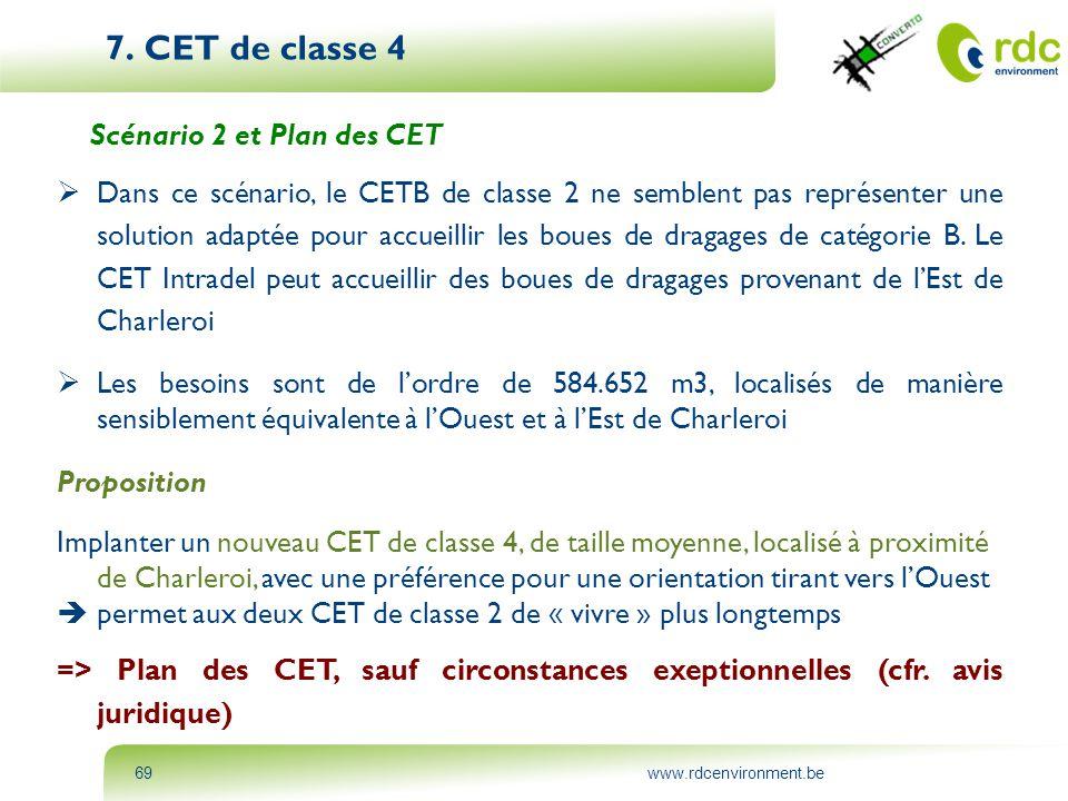 www.rdcenvironment.be69 7. CET de classe 4 Scénario 2 et Plan des CET  Dans ce scénario, le CETB de classe 2 ne semblent pas représenter une solution
