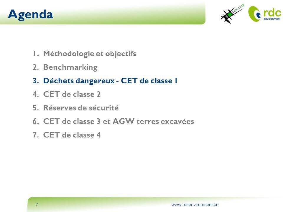 www.rdcenvironment.be18 Agenda 1.Méthodologie et objectifs 2.Benchmarking 3.Déchets dangereux - CET de classe 1 4.CET de classe 2 5.Réserves de sécurité • Hypothèses • Sélection des CET • Répartition du flux supplémentaire à enfouir • Stratégie de gestion / Procédures 6.CET de classe 3 et AGW terres excavées 7.CET de classe 4