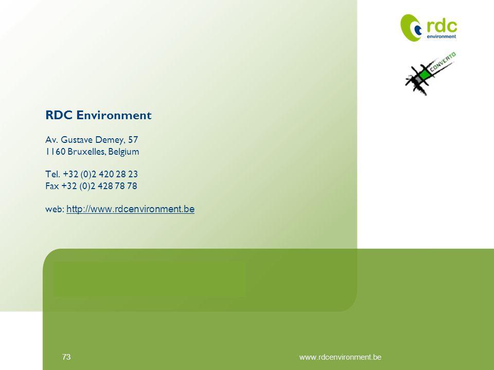 73 www.rdcenvironment.be RDC Environment Av. Gustave Demey, 57 1160 Bruxelles, Belgium Tel. +32 (0)2 420 28 23 Fax +32 (0)2 428 78 78 web: http://www.