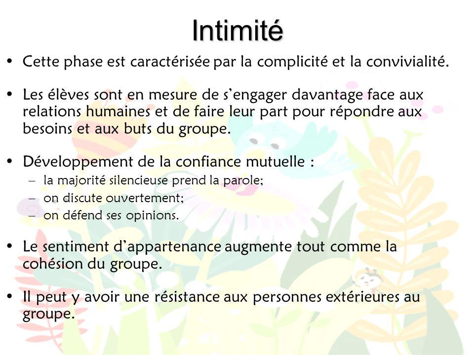Intimité •Cette phase est caractérisée par la complicité et la convivialité. •Les élèves sont en mesure de s'engager davantage face aux relations huma
