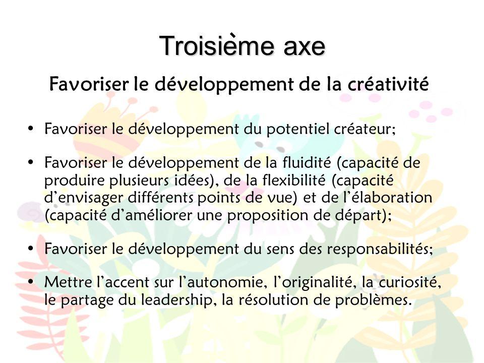 Troisieme axe Favoriser le développement de la créativité •Favoriser le développement du potentiel créateur; •Favoriser le développement de la fluidit