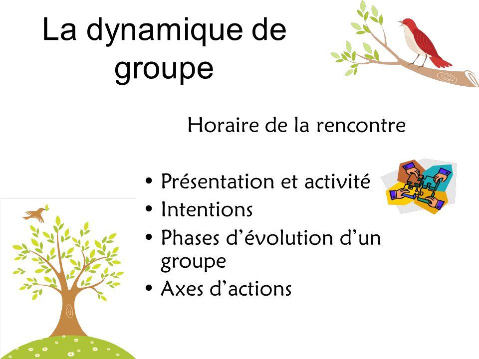 La dynamique de groupe Horaire de la rencontre •Présentation et activité •Intentions •Phases d'évolution d'un groupe •Axes d'actions