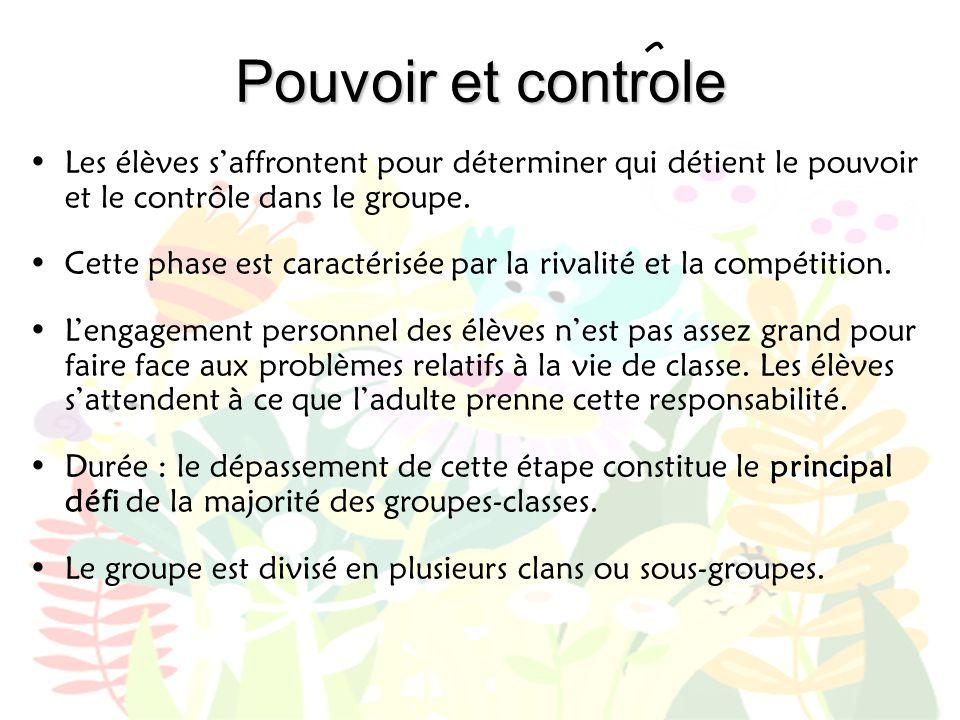 Pouvoir et controle •Les élèves s'affrontent pour déterminer qui détient le pouvoir et le contrôle dans le groupe. •Cette phase est caractérisée par l